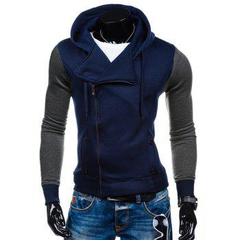 Color Block Side Zipper-Up Hoodie