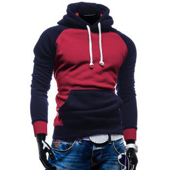 Color Block Pull Kangaroo Hoodie Pocket - Rouge M