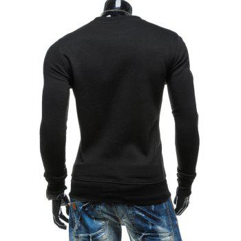 76 Printed Crew Neck Zipper Embellished Sweatshirt - BLACK 2XL