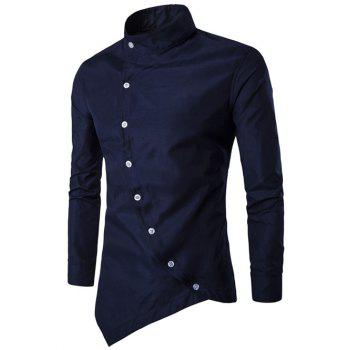 Asymmetric Stand Collar Button Up Shirt
