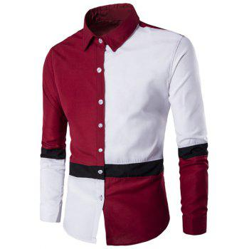 Button Up Long Sleeve Color Block Shirt