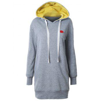 Buy Lip Embroidered Fleece Drawstring Hoodie GRAY