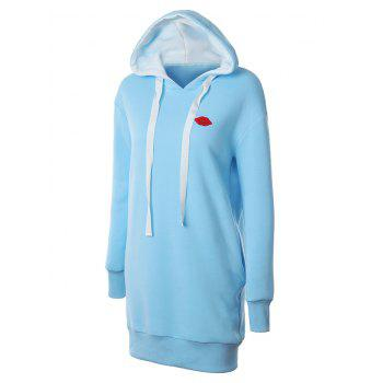 Lip Embroidered Fleece Drawstring Hoodie