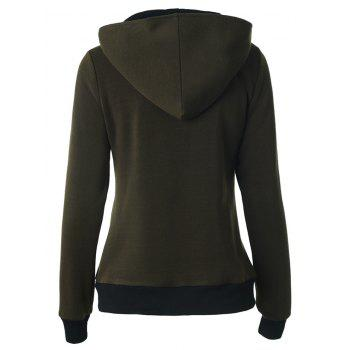 Buttoned Hooded Cottony Jacket - ARMY GREEN M