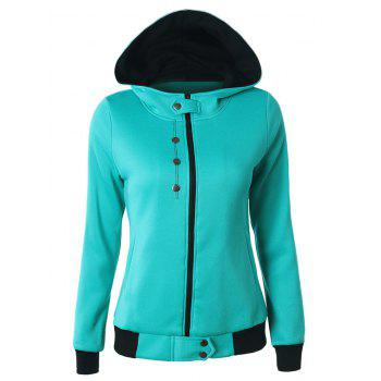 Buttoned Hooded Cottony Jacket