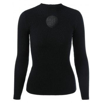 Buy Keyhole Ribbed Slimming Knitwear BLACK