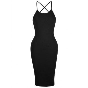 Buy Open Back Criss Cross Cami Dress BLACK
