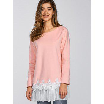Lace Pleat Splicing T Shirt - PINK PINK
