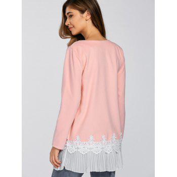 Pleat dentelle Splicing T-shirt - ROSE PÂLE M