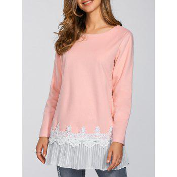 Lace Pleat Splicing T Shirt