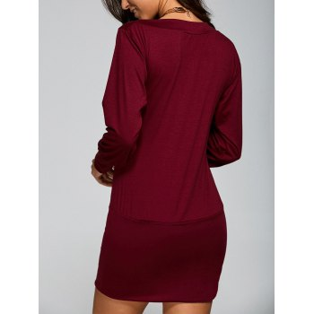 Casual Skew Neck Long Sleeve Mini Tight Dress - WINE RED S
