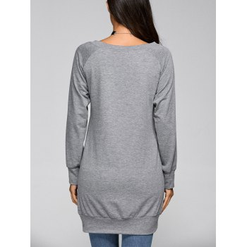 Lip Print Long Pullover Sweatshirt - GRAY L