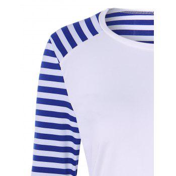 Raglan Sleeve Patched Striped T-Shirt - WHITE WHITE
