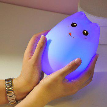Touching Cat Cartoon USB Charging Ombre LED Night Light -  WHITE