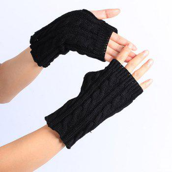 Winter Crochet Hemp Flowers Knitted Fingerless Gloves