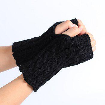 Winter Crochet Hemp Flowers Knitted Fingerless Gloves - BLACK