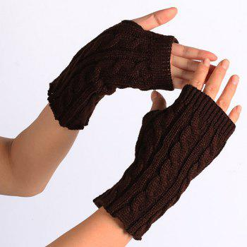 Winter Crochet Hemp Flowers Knitted Fingerless Gloves - COFFEE COFFEE