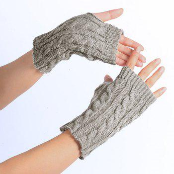 Winter Crochet Hemp Flowers Knitted Fingerless Gloves - LIGHT GRAY LIGHT GRAY