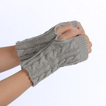 Winter Crochet Hemp Flowers Knitted Fingerless Gloves -  LIGHT GRAY