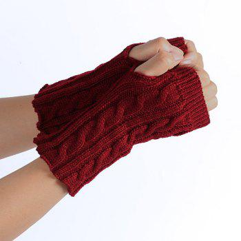 Winter Crochet Hemp Flowers Knitted Fingerless Gloves - WINE RED