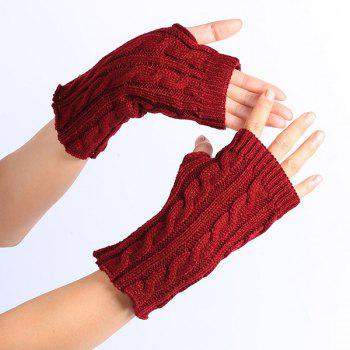Winter Crochet Hemp Flowers Knitted Fingerless Gloves - WINE RED WINE RED