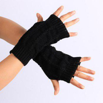 Buy Pair Stripy Knitted Crochet Fingerless Gloves BLACK