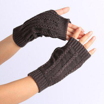 Buy Pair Stripy Knitted Crochet Fingerless Gloves DEEP GRAY