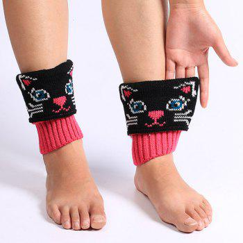 Cat Pattern Knit Boot Cuffs