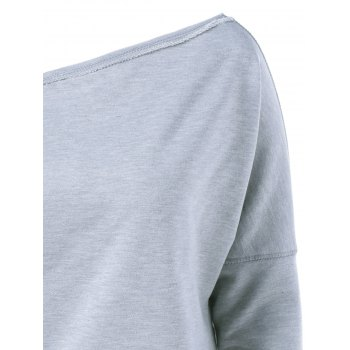 Skew Collar Topstitched Sweatshirt - LIGHT GRAY LIGHT GRAY