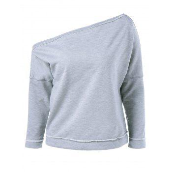Skew Collar Topstitched Sweatshirt
