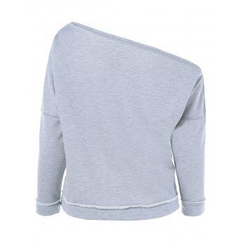 Skew Collar Topstitched Sweatshirt - LIGHT GRAY ONE SIZE
