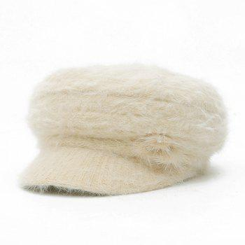Faux Fur Flowers Knit Beret Hat