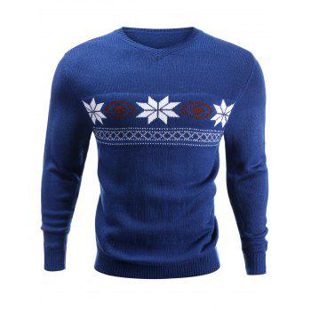 V-Neck Snowflake Jacquard Sweater
