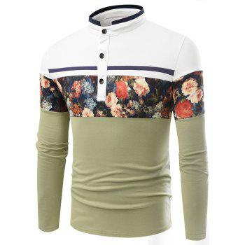 Stand Collar Long Sleeve Floral Printed T-Shirt