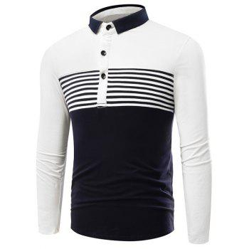 Striped Color Block Long Sleeve Polo Shirt