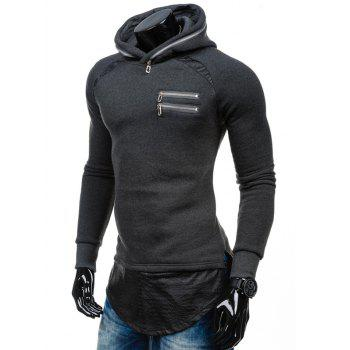 PU Spliced ​​Zipper Embelllished Faux Twinset Hoodie - gris foncé L