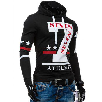 Slim-Fit Seven Printed Hoodie - BLACK L