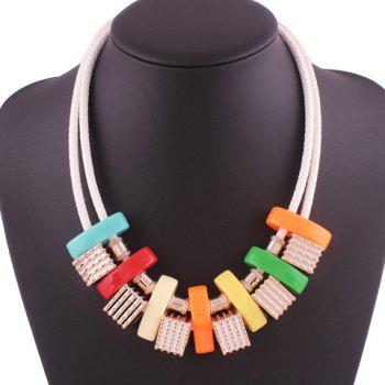 Artificial Leather Rope Geometric Block Necklace