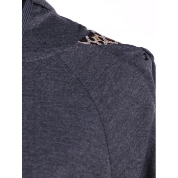 Leopard Printed Pants and Zip Up Hooded Top - DEEP GRAY XL