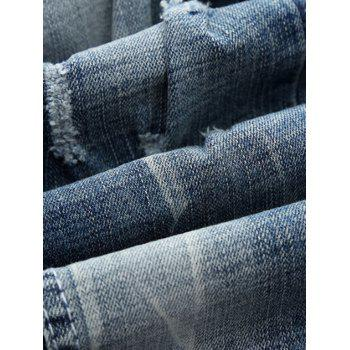 Zipper Fly Straight Leg Holes and Cat's Whisker Design Jeans - LIGHT BLUE 34