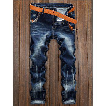 Distressed Splicing Selvedge Embellished Straight Leg Jeans