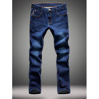 Zipper Fly Straight Leg Elasticity Jeans