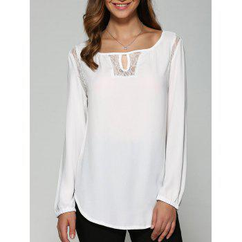 Buy Lace High Low Cutwork Blouse WHITE