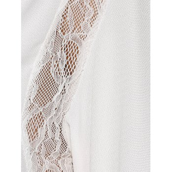 Lace High Low Cutwork Blouse - WHITE S