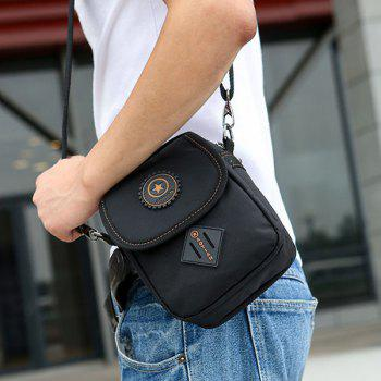Dark Color Metal Nylon Crossbody Bag - BLACK
