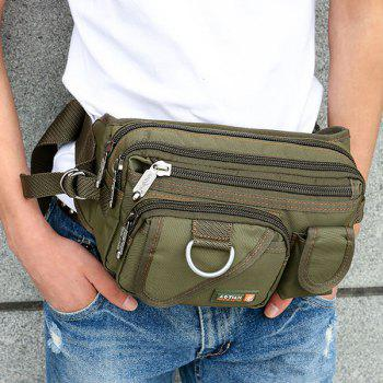 Dark Color Metal Pockets Waist Bag -  ARMY GREEN