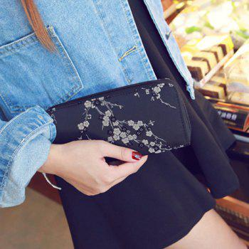 Embroidery Color Block Plum Blossom Wallet -  BLACK