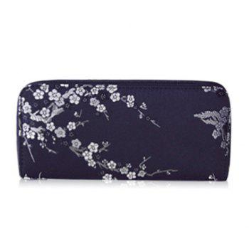 Embroidery Color Block Plum Blossom Wallet - BLACK BLACK