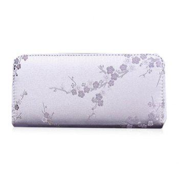Embroidery Color Block Plum Blossom Wallet