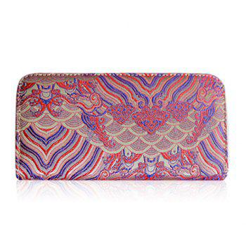 Striped Pattern Color Splicing Embroidery Wallet - DEEP PINK DEEP PINK
